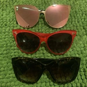 Accessories - Sunglasses lot of 3 red cat eye rose gold tortoise